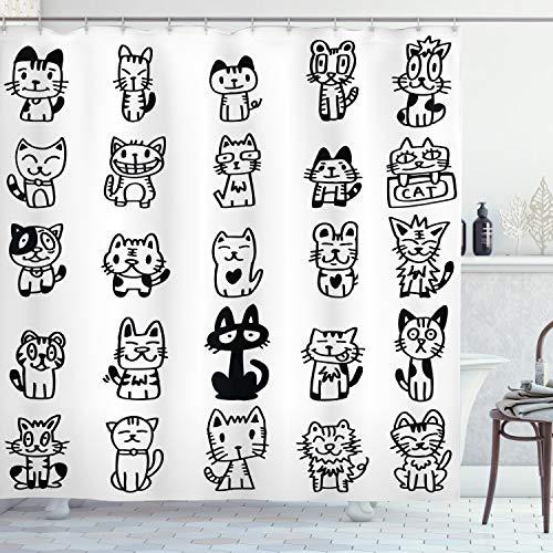 ABAKUHAUS Gato Cortina de Baño, Los Gatos con Caras Felices, Material Resistente al Agua Durable Estampa Digital, 175 x 180 cm, Blanco Negro