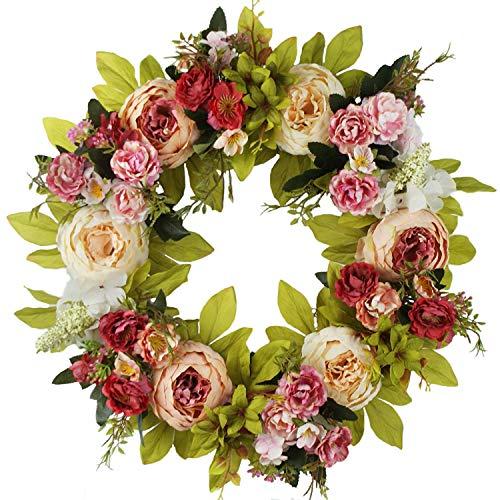 imaly Decor – Corona da Porta con Rose di Seta, 40 cm, Realizzata a Mano, la Corona è Adatta per Qualsiasi Stagione.