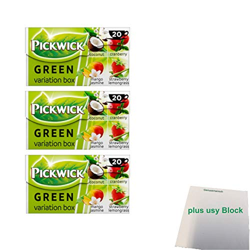 Pickwick Green Tea Variation Box 3er Pack (Kokosnuss, Heidelbeere, Mango-Jasmine, Zitronengras, 3x 20x1,5g) + usy Block