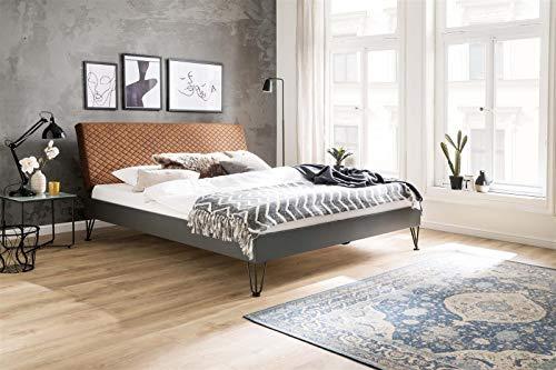 möbelando Metallbett Einzelbett Bettgestell Jugendbett Bett Boston 140x200 cm Cognac
