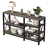 Console Table for Entryway/Living Room, LGHM Entryway Table Narrow Console Sofa Table with 4-Tier Storage Shelves, Hallway Table for Hall, Entry, Kitchen, Gray Oak