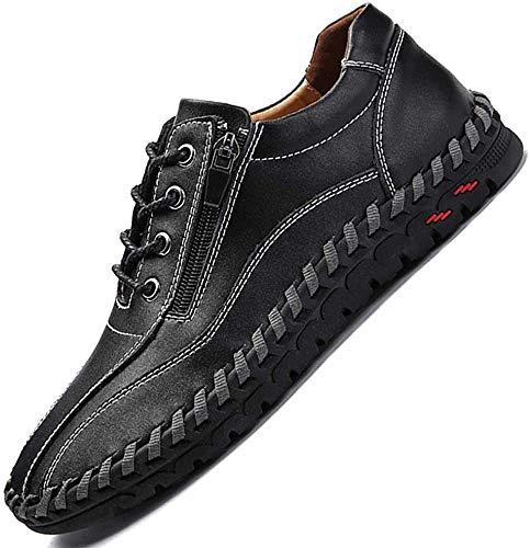 JEBU Men's Handmade Zipper Casual Leather Work Driving Non-Slip Slip-on Loafers Adjustable Shoes Black 43