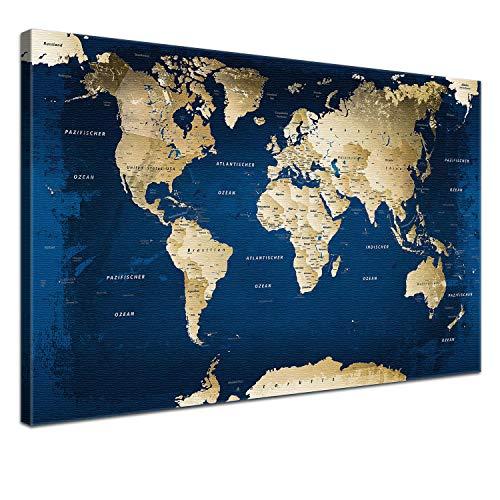 """LANA KK - Weltkarte Leinwandbild mit Korkrückwand zum pinnen der Reiseziele – """"Weltkarte Ocean†- deutsch - Kunstdruck-Pinnwand Globus in blau, einteilig & fertig gerahmt in 80x60cm"""