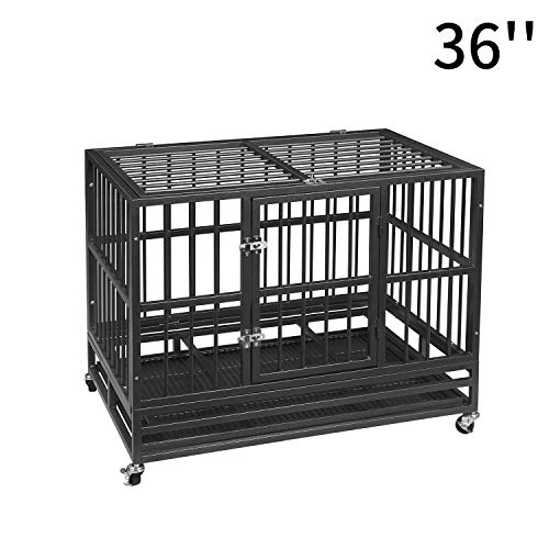 PUPZO Heavy Duty Dog Cage Crate Kennel Carbon Steel with Four Wheels for Large Dogs Easy to Install (36 INCH)