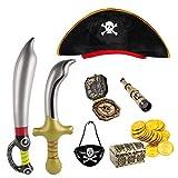 FLOFIA Sombrero Pirata Disfraz Pirata Niño, Accesorios Pirata Niño Kit Parche de Ojo Pirata Telescopio Pirata Juguete Brújula Pirata Espadas Piratas Inflables Moneda 8 Kit