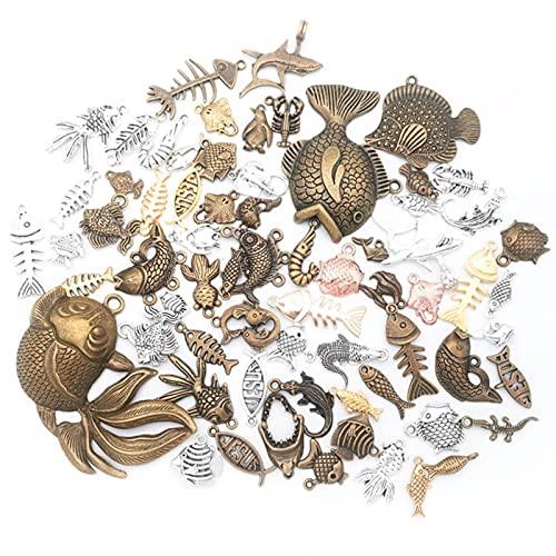 50 g 100 g DIY mezcla de peces colgantes peces animales encantos para pulseras tobillera artesanía joyería kit...