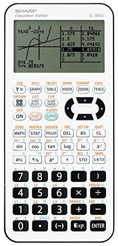 Sharp EL9950 Grafikrechner (7-stellige Anzeige, 827 Funktionen, D.A.L.-Eingabe) weiß /schwarz