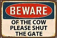 牛金属サインの用心ヴィンテージスタイルの壁ドアハウスプラーク