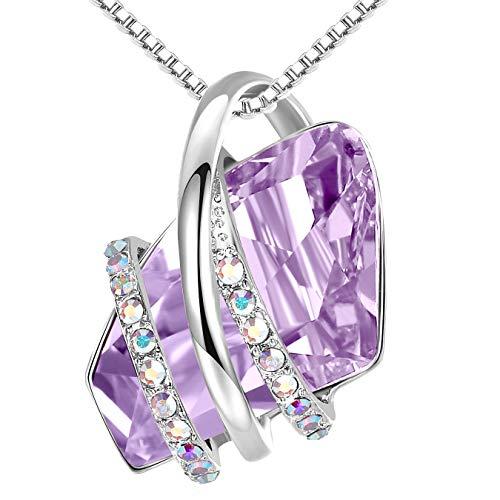 Leafael Deseo Collar con colgante de piedra con cristal de piedra natal de Alejandrita de color púrpura claro para junio, plateado, cadena de 18'+ 2'