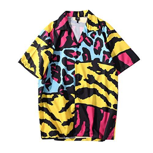 Lowest Prices! Mlide Mens Regular-fit Short-Sleeve Print Shirt Summer Casual Loose Beach Tee Navy