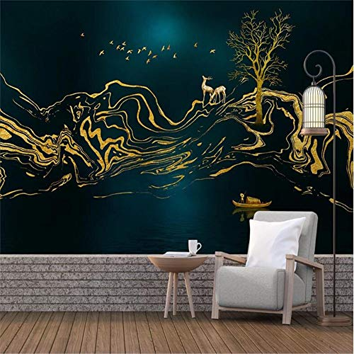 PSiFound 3D Wandaufkleber Fototapete Golden Rauch Bäume Vögel (350X256Cm) Selbstklebendes Diy-Wandbild Für Schlafzimmer Jungen Und Mädchen Wandbild Aufkleber Hauptdekoration Kunst