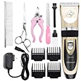 2020 Upgraded Dog Grooming Clippers Dog Hair Trimmer Cordless Low Noise Rechargeable Electric Quiet Pet Hair Clippers Set for Dogs, Cats,Other Pets
