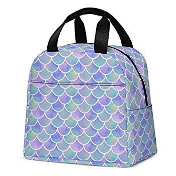 Lunch Bag for Kids Cute Insulated Kids Lunch Box Container Reusable Cooler Lunch Tote Bag for Children Girls and Boys School Picnic Travel Outdoors Purple with Mermaid