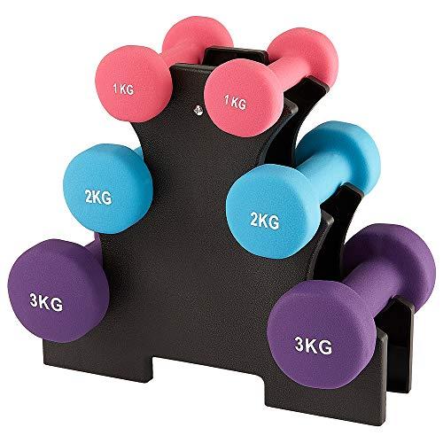 Manubri Fitness set di 6 manubri con supporto per manubri, 2 x 1 kg, 2 x 2 kg, 2 x 3 kg set di manubri per ginnastica, aerobica, allenamento per la forza fitness Pilates per donne, palestra domestica