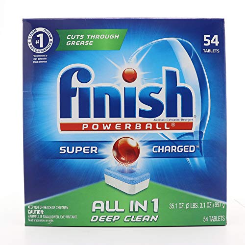 Finish All-in-One Dishwasher Detergent Powerball Tablets, Fresh Scent 54 Count