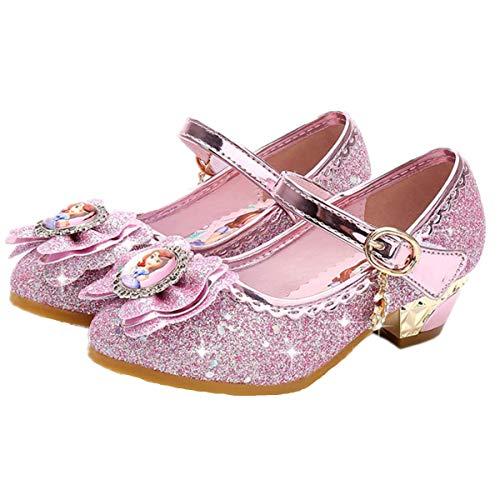 Fanessy-Sandalias Zapatos de Tango Latino para Niños Vestir Fiesta Princesa de Tacón Primavera Verano Zapatillas de Baile Cosplay Fiesta Zapatos de Cristal con Lentejuelas Sophia Princess
