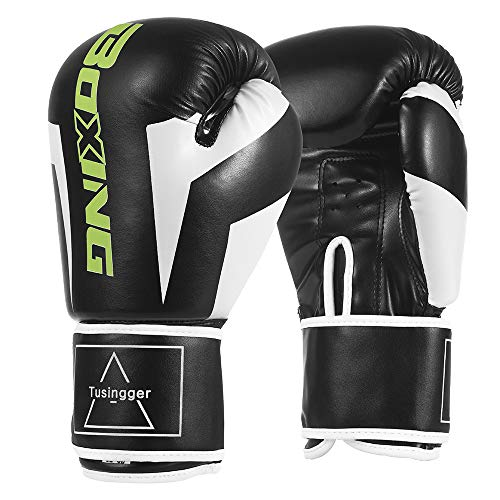 Tusingger Training Boxing Gloves Men & Women,Cool Style Boxing Gloves,Kickboxing Gloves,Muay Thai,Sparring Gloves,Heavy Bag Gloves for Boxing (Black, 10oz)