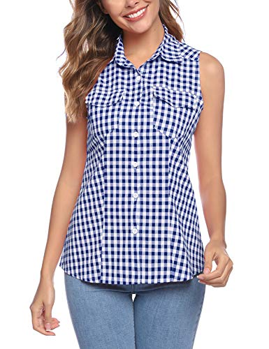 Abollria dames geruite blouse lange mouwen casual Karo hemdblouse Boyfriend Button-down blousenshirt vrije tijd met willekeurige zwart/witte knopen