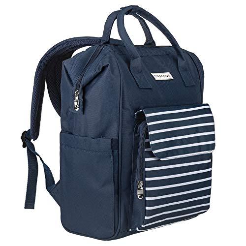 anndora City Rucksack blau weiß - inkl. Laptopfach Polyester