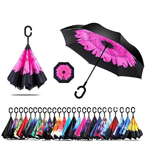 Sumeber Double Layer Reverse Regenschirm mit C Griff Schützen vor Sturm Wind Regen und UV-Strahlung Innovativer Regenschirm (Pfirsichblüte)