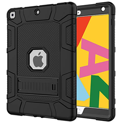 Azzsy iPad 8th Generation Case, iPad 7th Generation Case, iPad 10.2 2020/2019 Case, Slim Heavy Duty Shockproof Rugged High Impact Protective Case for iPad 10.2 inch 2020/2019,Black