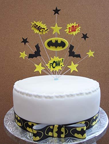 Karen's Cake Toppers Décoration de gâteau d'anniversaire Motif super-héros Batman 20 cm 1 mètre de ruban gros-grain Batman avec nœud