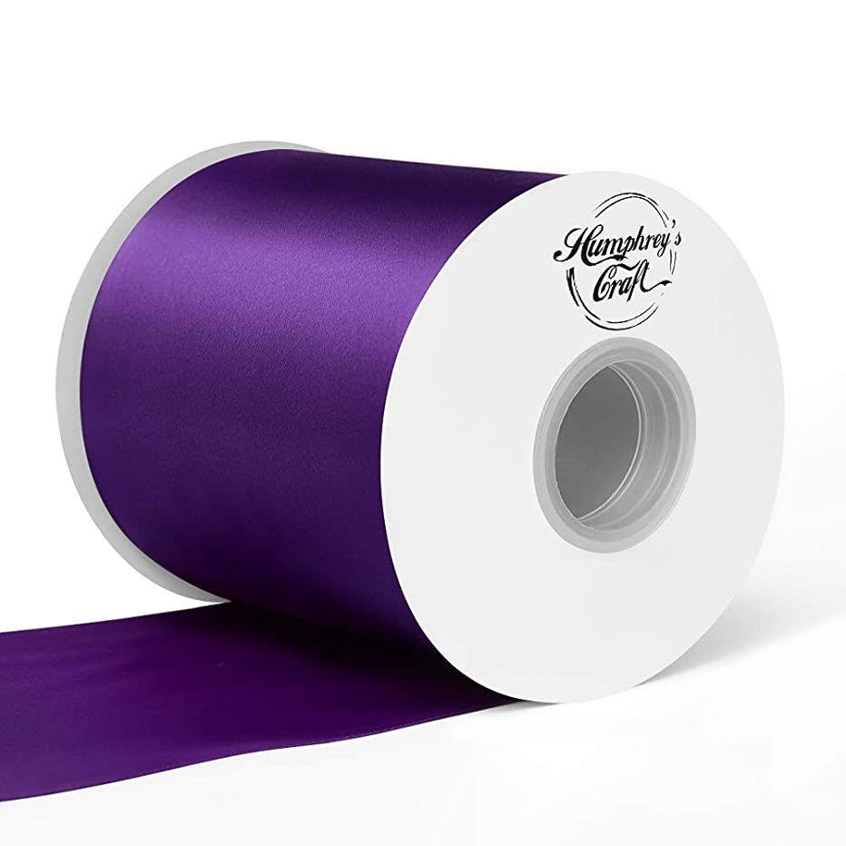 Humphrey's Craft 4 inch Double Face Solid Satin Ribbon 100% Polyester Ribbon Roll -25 Yard (Purple)