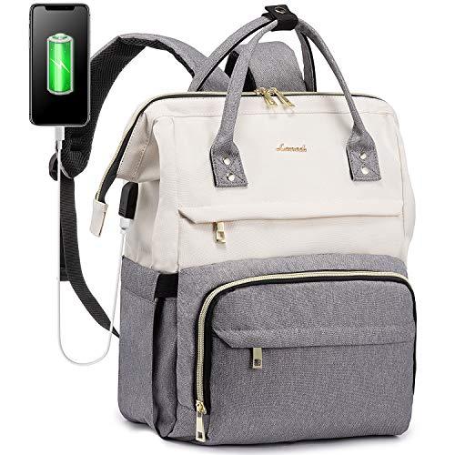 LOVEVOOK Laptop Rucksack Damen Stylischer Schultasche Mit 15,6 Zoll Laptopfach, Rucksacktasche Groß Mit USB Ladeanschluss, Tagesrucksack Mädchen Für Universität Reisen Arbeit Business, Beige Grau