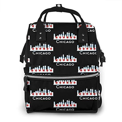 Chicago City Flag Skyline USA Diaper Backpack Travel Baby Nappy Bag Multi-Function Diaper Bag