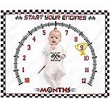 Eunikroko Race Car Baby Monthly Milestone Blanket Sports Nursery Blanket 1 to 12 Months Photography Backdrop Prop for Newborn Baby Boy Soft Plush Fleece
