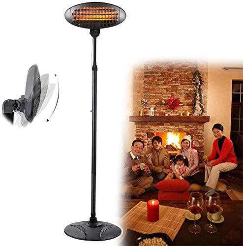WSZYBAY Lámpara de calor de jardín con bombilla de cuarzo eléctrica, calentador radiante de patio independiente para exteriores, protección contra sobrecalentamiento y vuelco ajustable para interiores