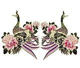 Namgiy 2x Stickerei Gold Draht Patch Badge Aufnäher für Jeans Kleid der Klemme hilft Aufnäher Craft Nähen Formen Halsband Flying Crane DIY
