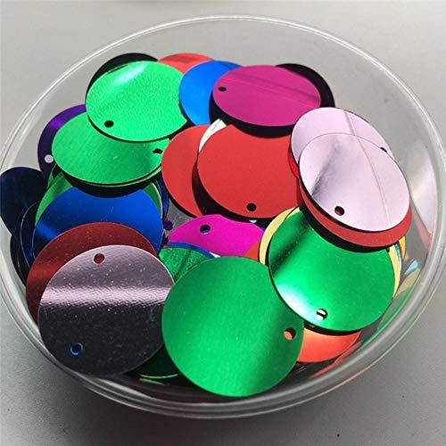 10mm 15mm 20mm 25mm 30mm PVC platte ronde losse pailletten naaien bruiloft Craft accessoires met 1 zijgat, Silver-Base Mix, 20mm 96st 10g
