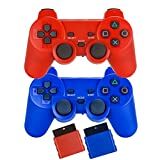 Saloke 2 Packs Wireless Gaming Controllers for Ps2 Double Shock (Red and Blue)