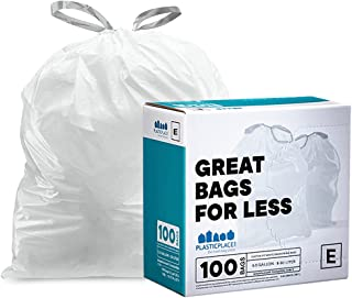 Plasticplace Custom Fit Trash Bags simplehuman (x) Code E Compatible (100 Count) White Drawstring Garbage Liners 5.2 Gallo...