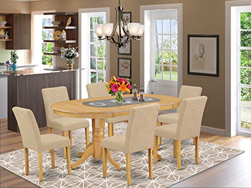 7 Pc Dining Room Set Dining Table With Self Storing Butterfly Leaf And Six Parson Chair With Oak Leg And Linen Fabric Light Fawn