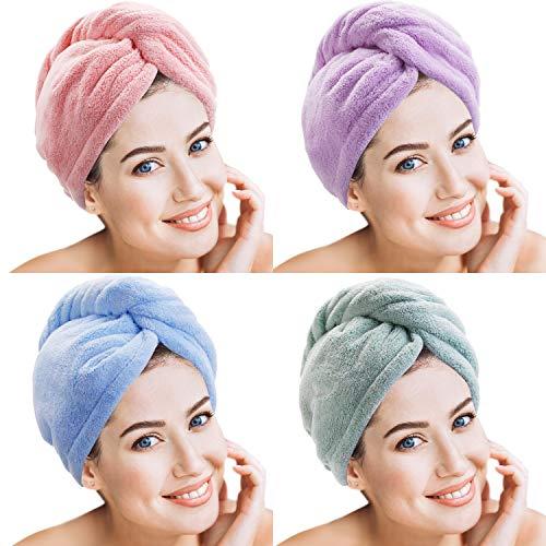 4 Piezas de Toalla de Pelo de Microfibra Turbante de Torsión de Pelo Gorro de Cabeza de Secar Rápido para Mujeres Chicas (Multicolor C)