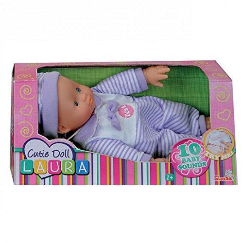 Simba Laura Cutie Doll Weichkörperpuppe Puppe Strampler 10 Baby Sounds blau rosa lila, Farbe:Lila