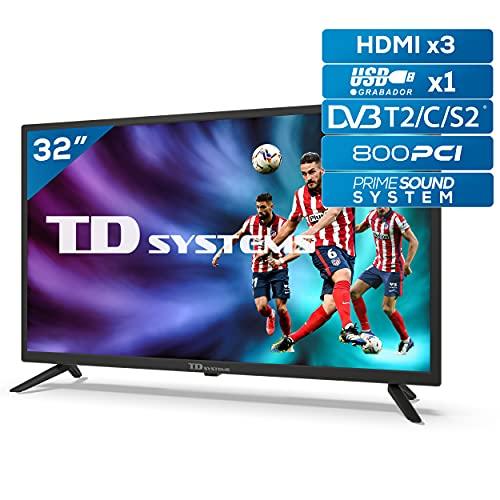 TD Systems K32DLG12H - Televisores 32 Pulgadas HD, 800 PCI Hz, 3X HDMI, USB Grabador Reproductor, DVB-T2/C/S2 Modo Hotel. Televisiones