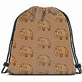 N / A Mochila Cordónes,Bolsas con Cordón De Gimnasio,Bolsa De Cincha,Patrón Étnico Indio Elefantes Animales Fauna Silvestre Bolsas De Cordones por Hombre Mujer