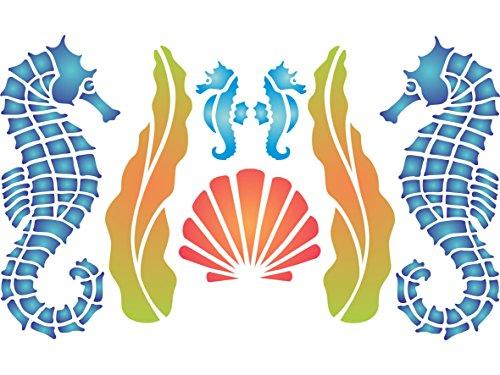 Plantilla para pared con diseño de caballito de mar, 29 x 16,5 cm, reutilizable, diseño de marino, borde de arrecifes