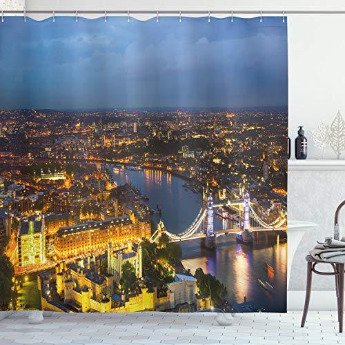 ABAKUHAUS Modern Duschvorhang, Sonnenuntergang in der Stadt London, mit 12 Ringe Set Wasserdicht Stielvoll Modern Farbfest & Schimmel Resistent, 175x200 cm, Gelb