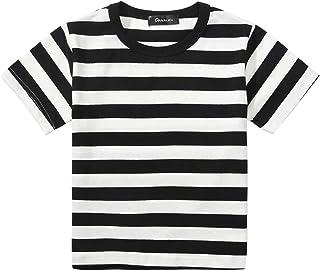 تي شيرت للأولاد مخطط باللونين الأسود والأبيض، قمصان علوية لزي الباغسلي 3T-10
