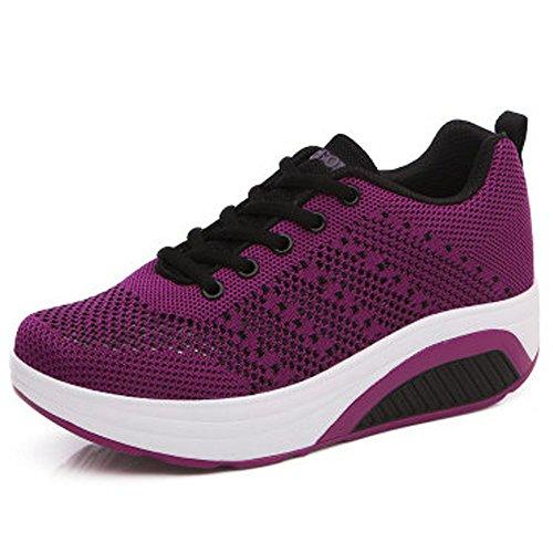 Femme Baskets Chaussures Semelle compensée Mesh Chaussures Sport Casual Marcher Respirantes Balançoire Compensées Chaussures (38 EU, Violet)