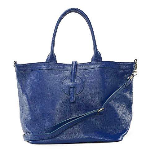 CUIR DESTOCK Sac à main Femme porté épaule bandoulière et de travers en véritable cuir fabriqué en Italie Bleu moyen