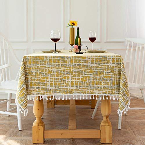 Kuingbhn Mantel de Mesa Rectangular para Cocina Cotton Linen Jacquard Tassel La Última Tecnología Lavable Colores Firmes Yellow and White 90×90cm