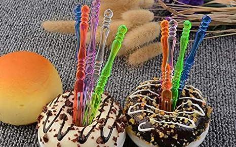 300pcs Colorful ericotry Disposable Plastic Fruit Forks Cocktail Sticks Plates Picks Dessert Forks Cake Forks Party Favor Supplies