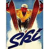 Wee Blue Coo Prints Sport Advert Winter SKI Snow Downhill Slalom Fine Art Print Poster 30X40 CM 12X16 IN Deporte Publicidad Invierno Nieve Cuesta Abajo Lámina Póster
