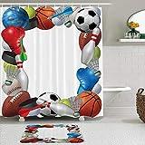 Juego de cortinas y tapetes de ducha de tela,Cuadro deportivo con equipamiento deportivo de Basketball Boxing Golf Bow,cortinas de baño repelentes al agua con 12 ganchos, alfombras antideslizantes