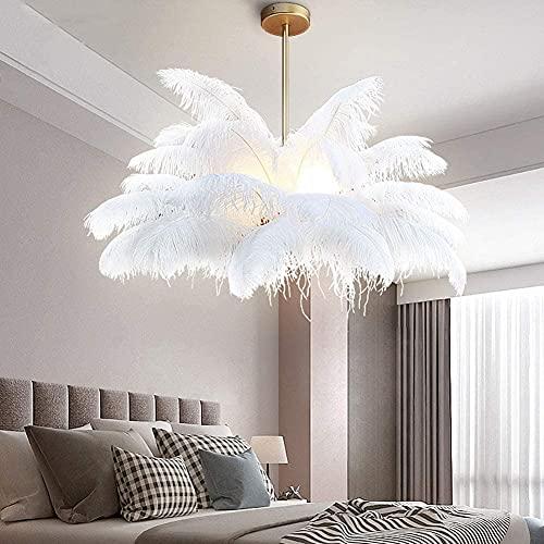 WYMF Lámpara de Techo de Plumas de Avestruz, araña de Plumas Blancas Brillantes, lámpara de Dormitorio de Pasillo de araña de Lujo romántico (75cmx59 cm(30 x 23 Pulgadas))
